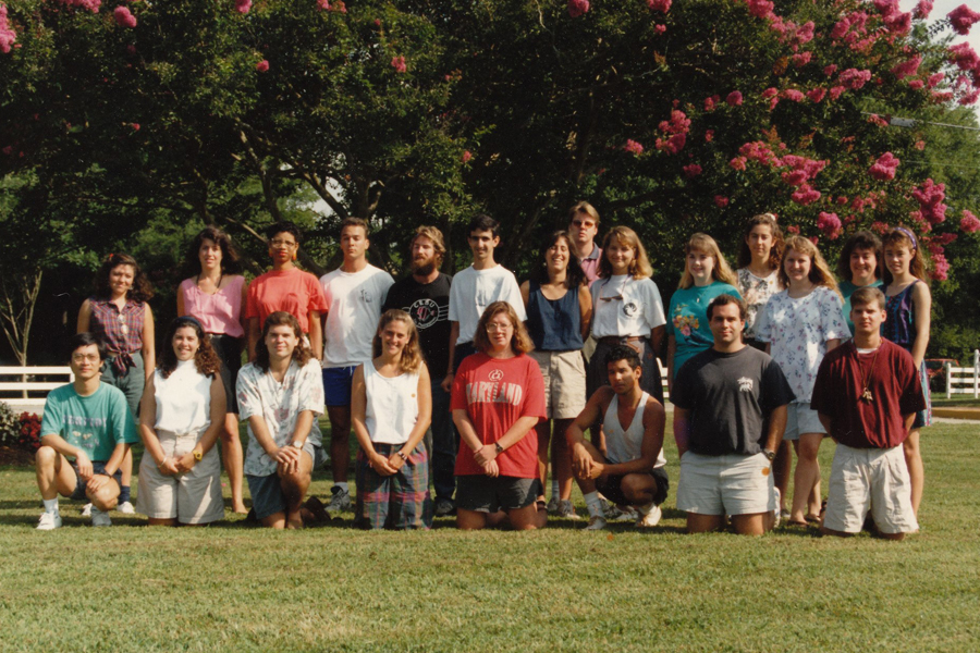 Matriculating class of 1992. Front Row (left to right) Zhaoqing Yang, Lisa Ayers, Lance Garrison, Janet Nestlerode, Cindy Cooksey, Jim Geltshleiter, Larry Boles, Ian Bartol. 