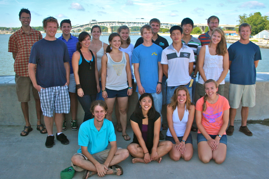 The 2012 matriculating class in the School of Marine Science at VIMS. Front row (L-R): CJ Sweetman, Kristen Omori, Jami Ivory, Erika Schmitt. Middle row L-R: Brendan Turley, Jessica Bergeron, Alison O'Connor, Eric Miller, Jiabi Du, Emily French. Back row L-R: Randy Jones, Ike Irby, Emily Eggington, Lisa Ailloud, Stephen Manley, Zhou Liu, AJ Johnson, and Michael Kuschner. Not pictured are Kelsey Fall and Julia Moriarty.