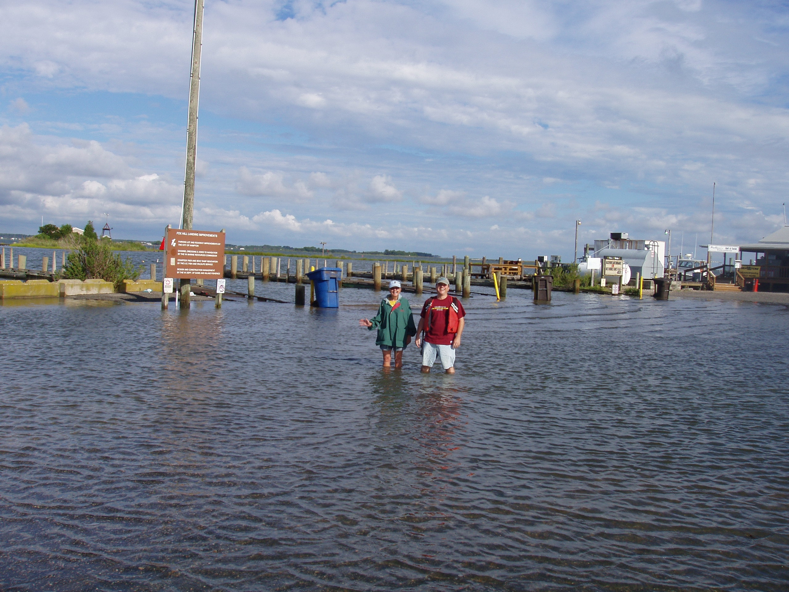 Flooding at  the Gloucester Point Beach boat ramp