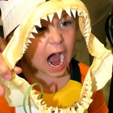 Logan Miesowitz of Hayes becomes a shark during Marine Science Day.