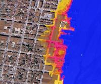 The VIMS model simulates storm-surge flooding at street level in Alexandria, Virginia during Hurricane Isabel.