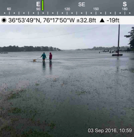 A photo of coastal flooding in Norfolk taken with the SeaLevelRise app during tropical storm Hermine in Sept. 2016. These images help validate VIMS' storm-surge model. © D. Loftis/VIMS.
