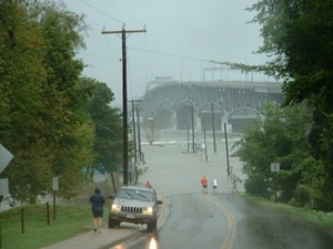Storm surge covers Gloucester Point, Virginia during Hurricane Isabel in 2003.