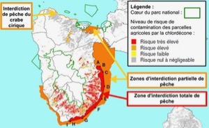 Partial (orange) and complete (red) fishing bans in the coastal waters of southwestern Guadeloupe due to contamination by chlordecone. Also shown are chlordecone risk zones on land. © Pol Kermogrant/ Direction de l'alimentation, de l'agriculture et de la forêt de Guadeloupe.