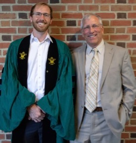 "Dr. Andrew ""AJ"" Johnson (L) with his Ph.D. advisor Robert ""JJ"" Orth (R) following the VIMS Diploma ceremony. © N. Meyer/W&M."