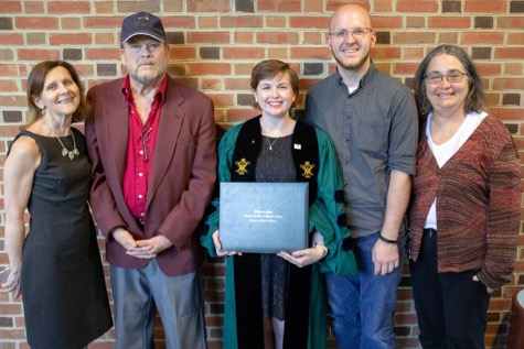 Following the VIMS Diploma ceremony, Dr. Amanda Knobloch (C) celebrates with (from L) her Ph.D. advisor Dr. Elizabeth Canuel, her father John Jones, her spouse Kelsey Knobloch, and her mother Janis Teas. © N. Meyer/W&M.