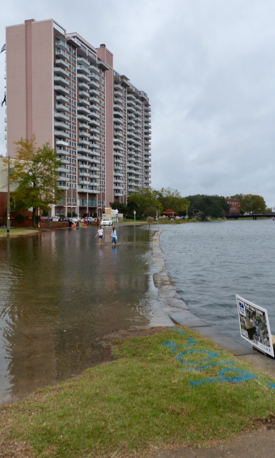 "Seawater floods the Hague in Norfolk during the ""King Tide"" in October 2019."