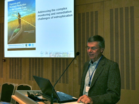 VIMS professor Bob Diaz during his presentation at the 6th biennial International Waters Conference in Dubrovnik Croatia on October 19th.