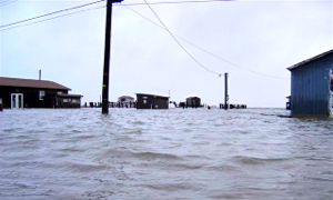 The ESL grounds are prone to flooding during coastal storms, like this nor'easter in November 2009. Photo by Sean Fate.