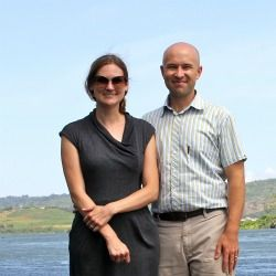 Sarah Glaser and Cullen Hendrix on the shores of Lake Victoria.
