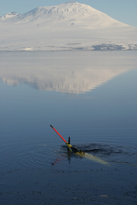 The Ice Dragon glider in the waters of the Ross Sea.
