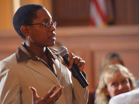 VIMS graduate student Erica Holloman during the EPA CARE ceremony on October 18th. USEPA photo by Eric Vance.