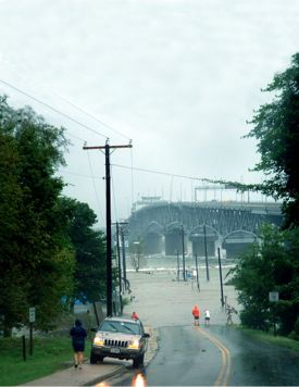 The York River at Gloucester Point during Hurricane Isabel in 2003.