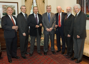 The Massey Foundation's $1 million gift was announced April 6, 2005 at the College of William and Mary. From L: VIMS Council Chairman Carroll Owens, Massey Foundation President Bill Massey, Massey Foundation Vice President Morgan Massey, Camapgin for William and Mary Chairman Jim Murray, VIMS Foundation Director Guil Ware, VIMS Dean and Director John Wells, and William and Mary President Timothy Sullivan.