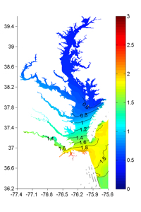 Maximum storm surge in Chesapeake Bay as simulated by Harry Wang's modeling group at VIMS. Click for larger image.