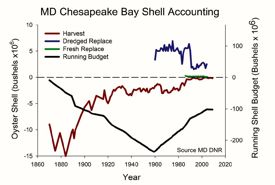 A simple accounting of the harvest and replacement of oyster shell in the Maryland portion of Chesapeake Bay, in millions of bushels by year. Image courtesy of Maryland Dept. of Natural Resources. Click for larger version.
