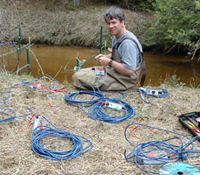 Dr. Michael Wagner sets up PIT-tag antennas in Michigan's Ocqueoc River.
