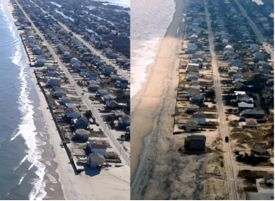 Sandbridge, Virginia (just south of Virginia Beach) before (L) and after (R) beach nourishment.
