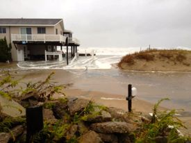 Coastal flooding of Sandbridge beach during Hurricane Sandy. Photo by Bridget McNabb.