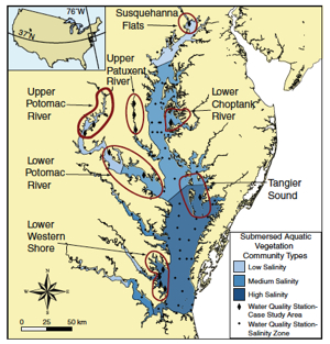 The study area comprised the entire Chesapeake Bay, 3 different salinity zones, and 7 smaller case-study areas. Map courtesy Robert Orth.