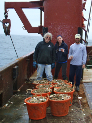From L: emeritus professor Bill DuPaul, VIMS technician Jessica Bergeron, and head of the VIMS scallop program David Rudders aboard the scallop vessel Kathy Ann near the Hudson Canyon Closed Area. In the foreground are baskets from a single tow that hold more than 10,000 two-year-old scallops.
