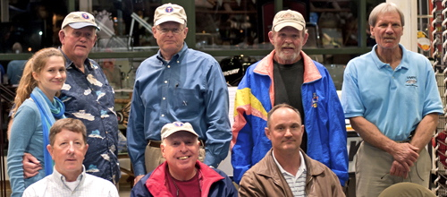 Some of the top taggers of 2011 came to Bass Pro Shop to be recognized for their efforts. Front, L-R: Donnie Smith, Jim Robinson, Carl Stover; Back, L-R: Susanna Musick, Wayne Rowe, Sheldon Arey, Ed Shepherd, and Lewis Gillingham. Photo by William Sweatt/VASG.