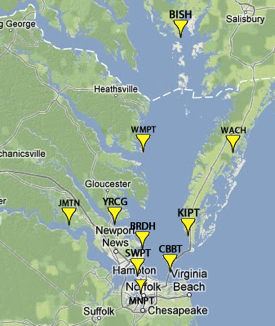 The 10 Tidewatch water-level stations. Click for interactive map.
