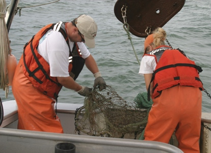 Removing an old crab pot that was collected in the trawl.