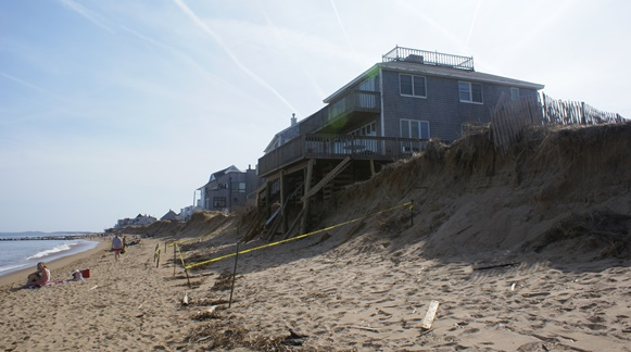 Hein studies coastal change on barrier islands like that shown here. Photo from Plum Island, Massachusetts.